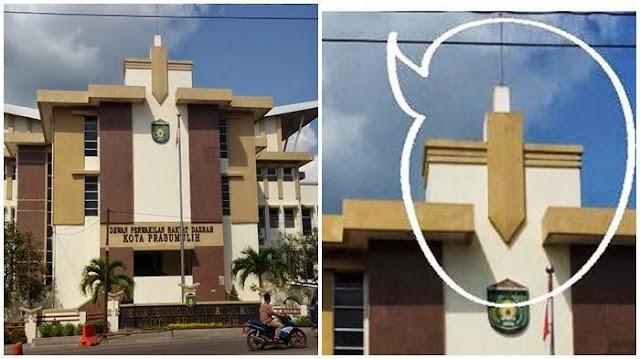 Warga Prabumulih Heboh, Puncak Gedung DPRD Mirip Salib