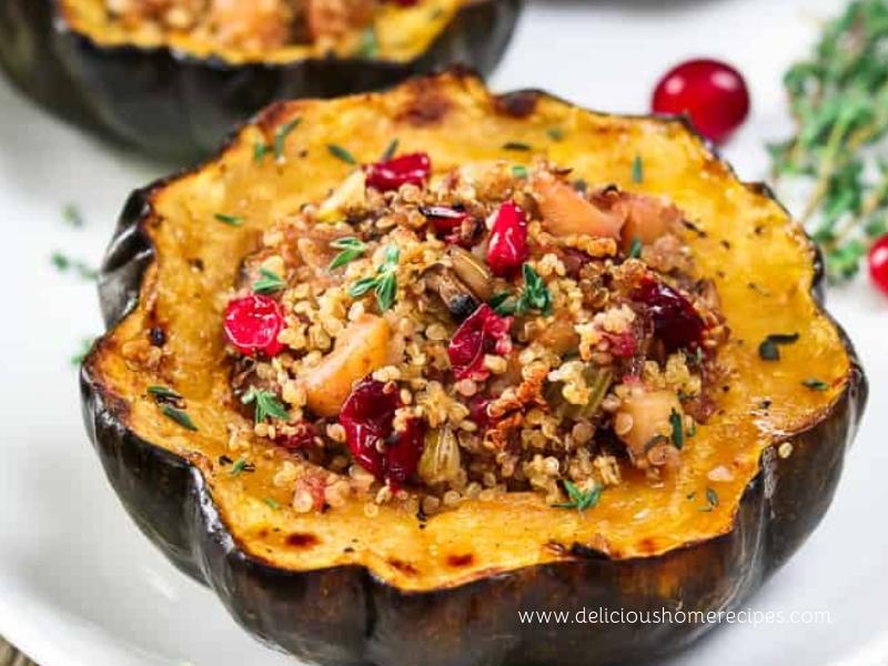 Quinoa Stuffed Squash With Pomegranate
