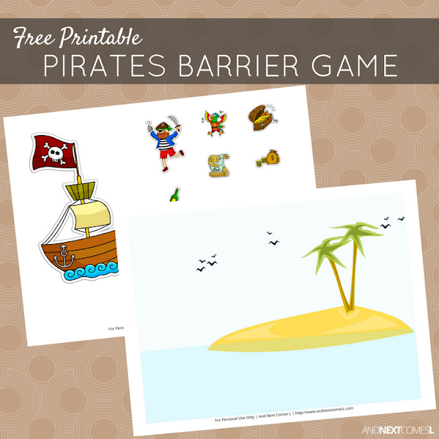 Free printable pirate themed barrier game for speech therapy from And Next Comes L