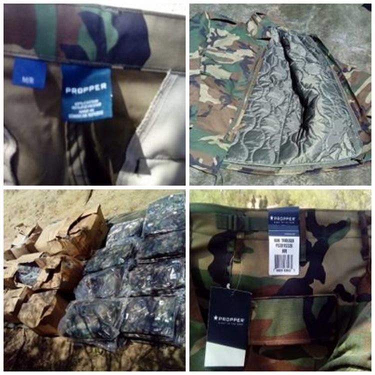 Aseguran uniformes apócrifos camuflajeado tipo militar del CDN en Tamaulipas.