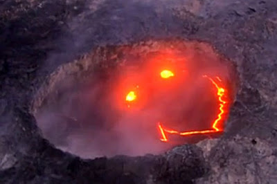 Erupting Volcano Reveals Smiley Face in Lava