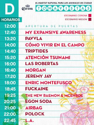 Horarios Festival Tomavistas 2017