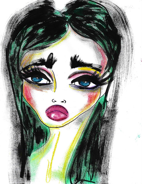 Bebee Pino - Illustration black hair with some green