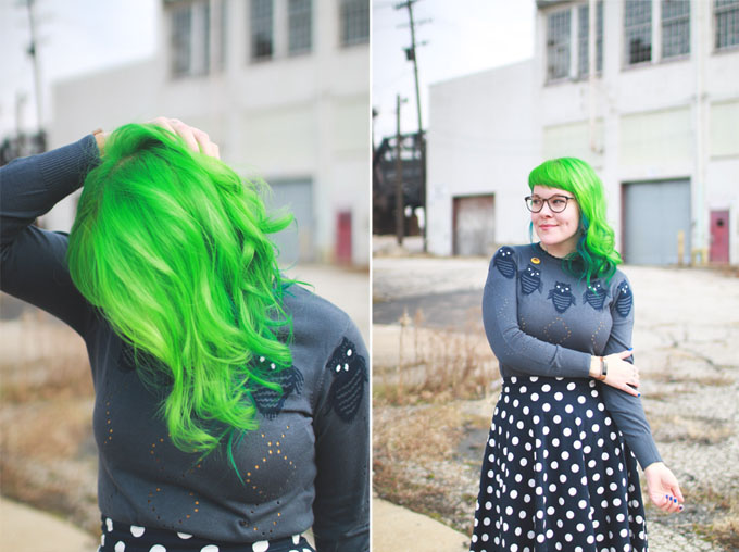 cleveland fashion blog, green hair, polka dot skirt
