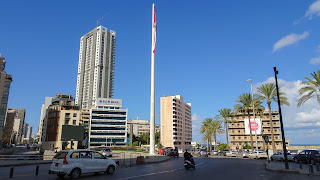 Huge flag pole at Fakhreddine Corner