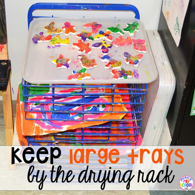 Keep large trays, like a large baking sheet, in your drying rack to make sure small crafts don't fall through.