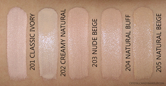L'Oréal Infaillible Pro-Glow Foundation Swatches 201 Classic Ivory 202 Creamy Natural 203 Nude Beige 204 Buff 205
