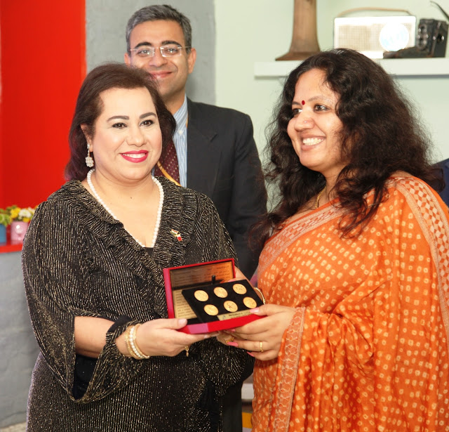 Ms. Ahlam Yousif Janahi - Board Member of Bahrain Chamber of Commerce and Industry with Priya Nair, Ministry of External Affairs-min