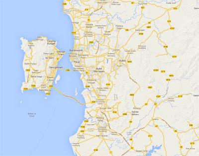 Peta Jambatan Kedua Pulau Pinang