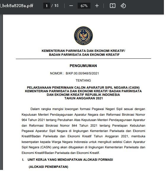 Penerimaan CPNS Kementerian Pariwisata dan Ekonomi Kreatif/Badan Pariwisata dan Ekonomi Kreatif Republik Indonesia Tahun Anggaran 2021