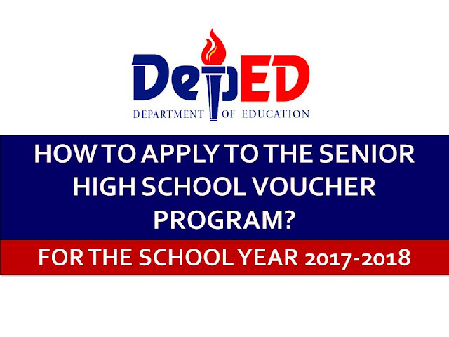 The Department of Education is calling for incoming senior high school (SHS) students to apply early for the Senior High School Voucher Program for SY 2017-2018.  This is a subsidy of the government for students who will pursue SHS in private high schools, local universities and colleges (LUCs), state universities and colleges (SUCs), as well as technical and vocational schools.