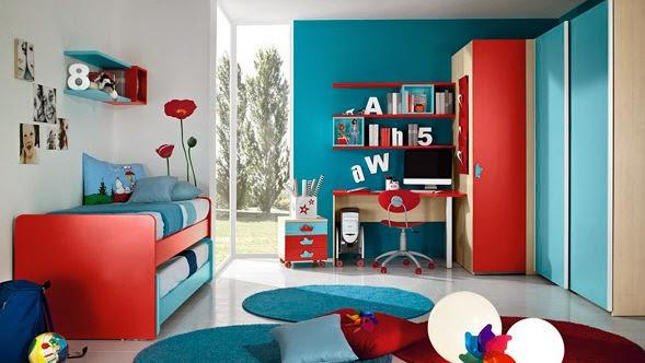 Dormitorio en azul y rojo para ni o dormitorios colores - Color habitacion nino ...