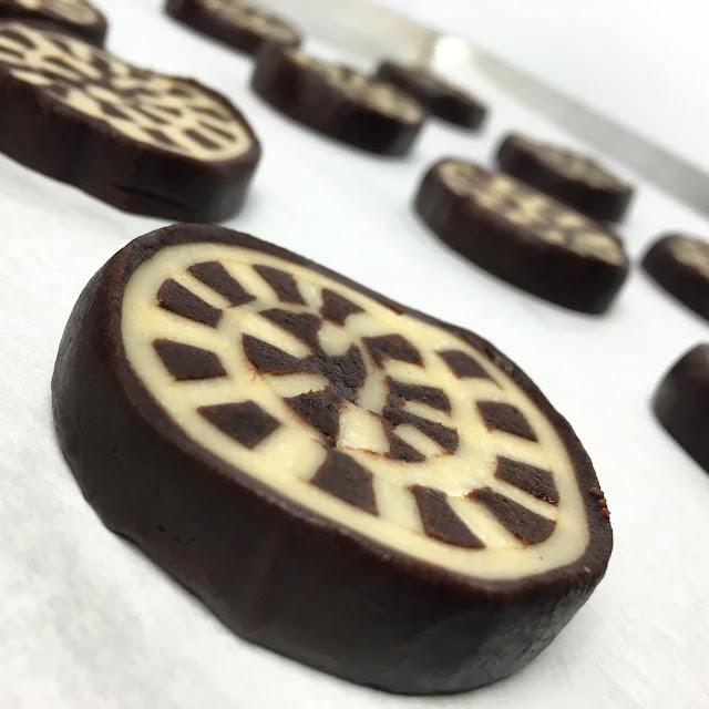Unbaked Slice of Vanilla & Chocolate Shortbread (Pate Sablee)