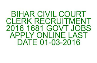 BIHAR CIVIL COURT CLERK RECRUITMENT 2016 1681 GOVT JOBS APPLY ONLINE LAST DATE 01-03-2016