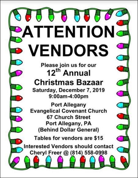 12-7 Christmas Bazaar, Evangelical Covenant, Port Allegany