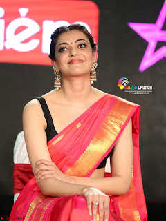 Kajal Agarwal in Red Saree Sleeveless Blouse Stunning Pics  Exclusive Galleries 008.jpg