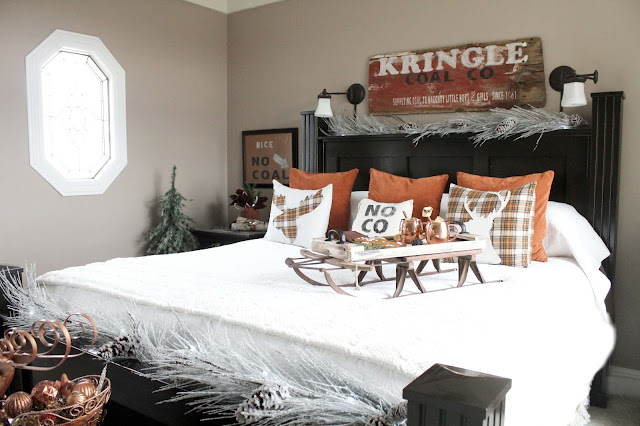 Copper Tone Decorated Christmas Bedroom Bliss-Ranch.com