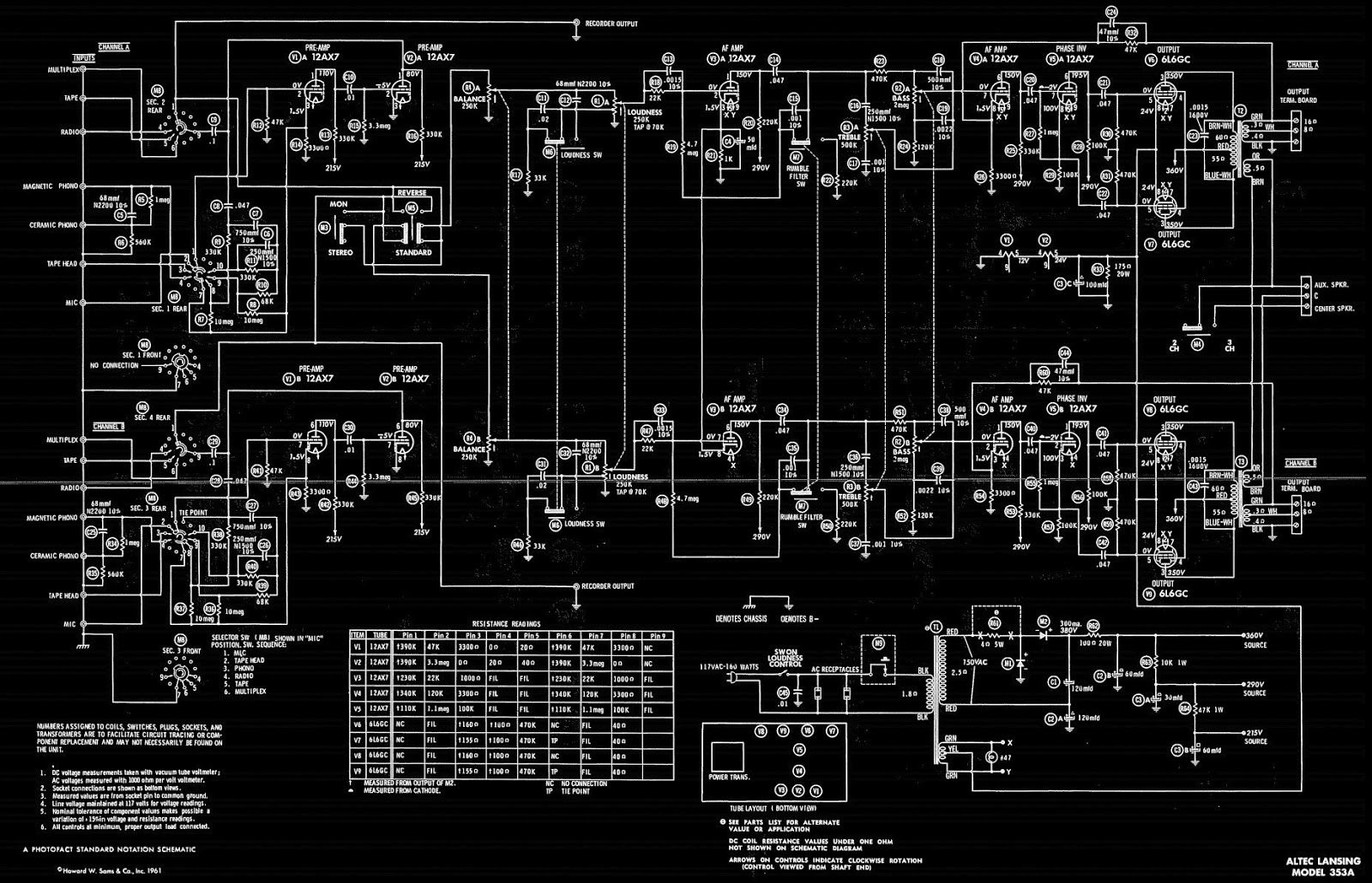 Altec Lansing 353a Power Amplifier Vacuum Tube Type Circuit 12ax7 Wiring Diagram Pin Out 6l6