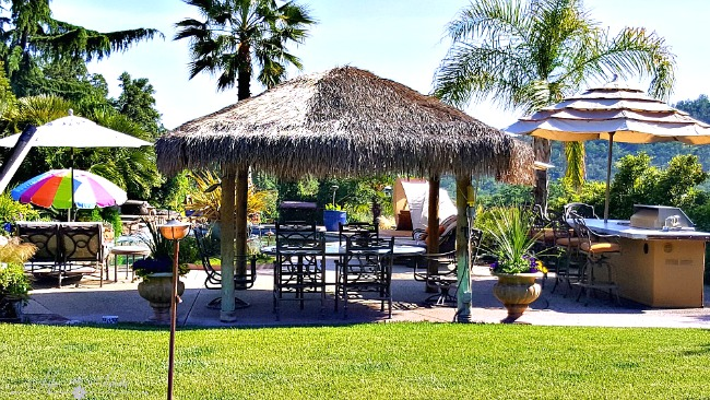 Our pool area with outdoor kitchen and palapa.