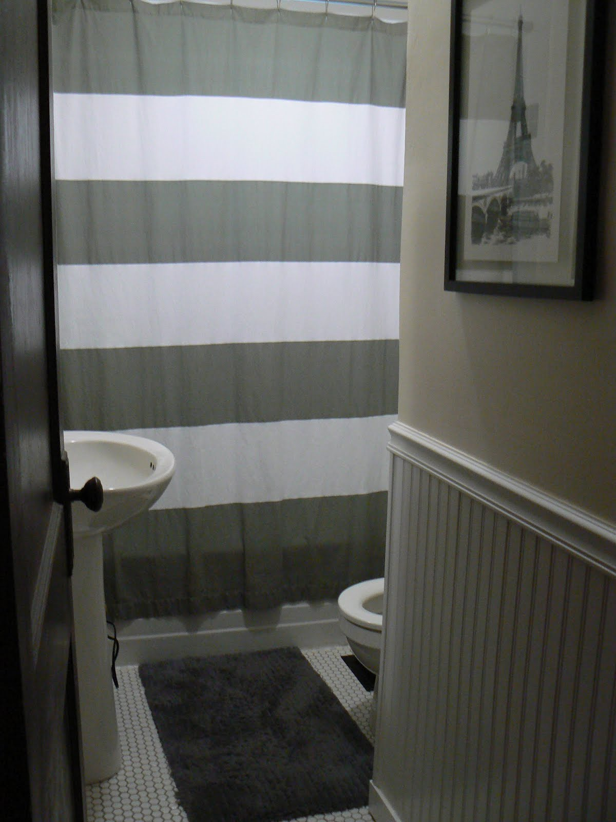 Horizontal Black And White Striped Shower Curtain - Brown and white striped shower curtain