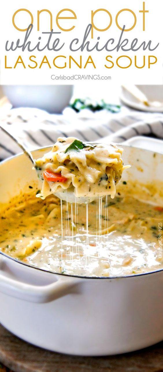 ONE POT WHITE CHICKEN LASAGNA SOUP #chicken #chickenrecipes #chickensoup #lasagna #lasagnasoup #soup #souprecipes #healthysouprecipes