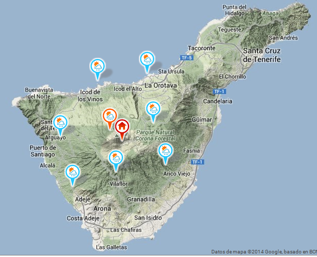 Tenerife con estaciones virtuales