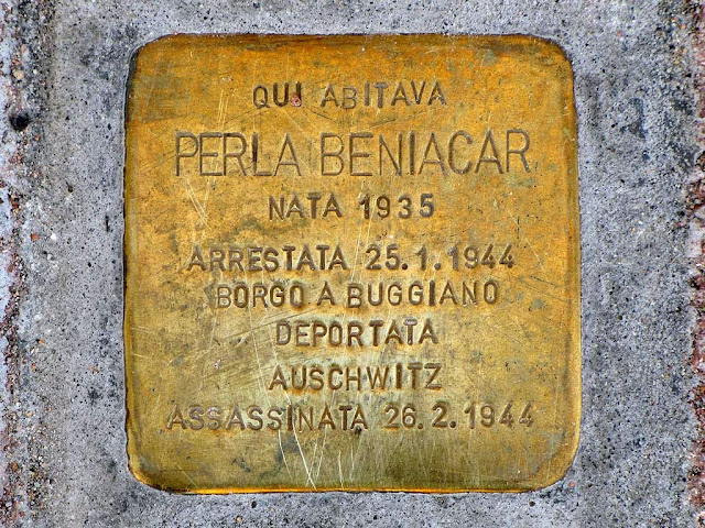 Stolperstein, stumbling block, remembering Perla Beniacar, Livorno