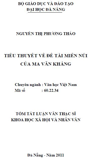 Tiểu thuyết về đề tài miền núi của Ma Văn Kháng