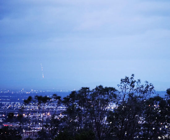 View from Anaheim Hills, composite of 9 video  frames of Falcon 9 launch from Vandenberg (Source: Scott Graham)