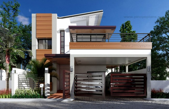 50 images of 15 two storey modern houses with floor plans for Modern house grill design