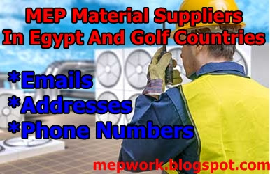 Excel Sheets, MEP, Material Suppliers