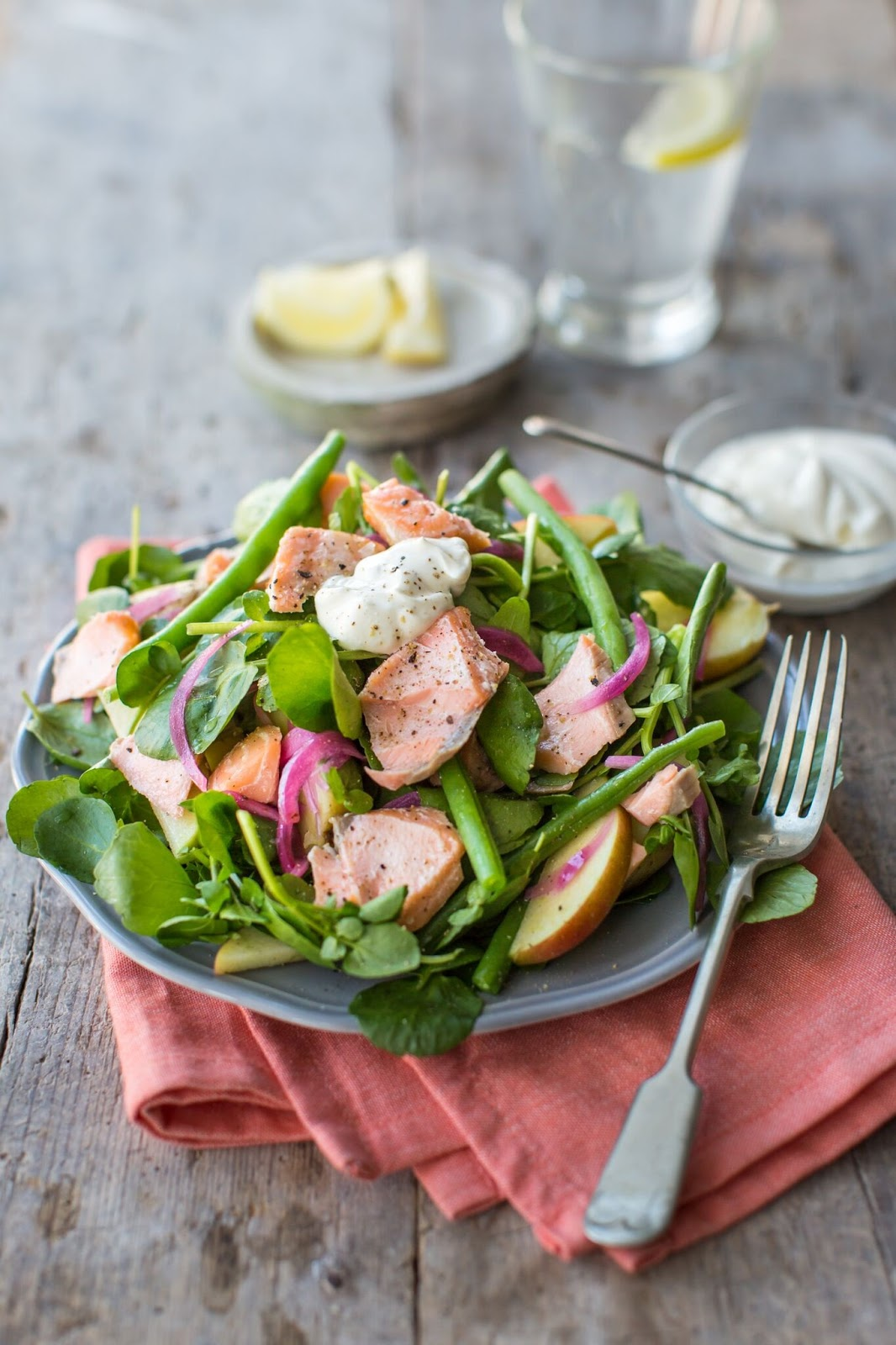 Hot-Smoked Salmon And Watercress Salad With Apple, Green Beans And Crème Fraiche