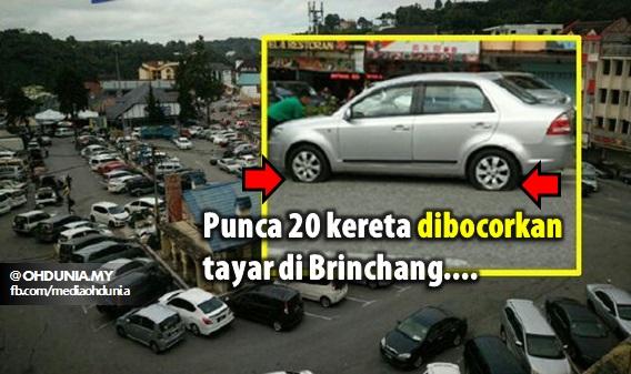 Punca 20 Kereta di Brinchang Dibocorkan Tayar
