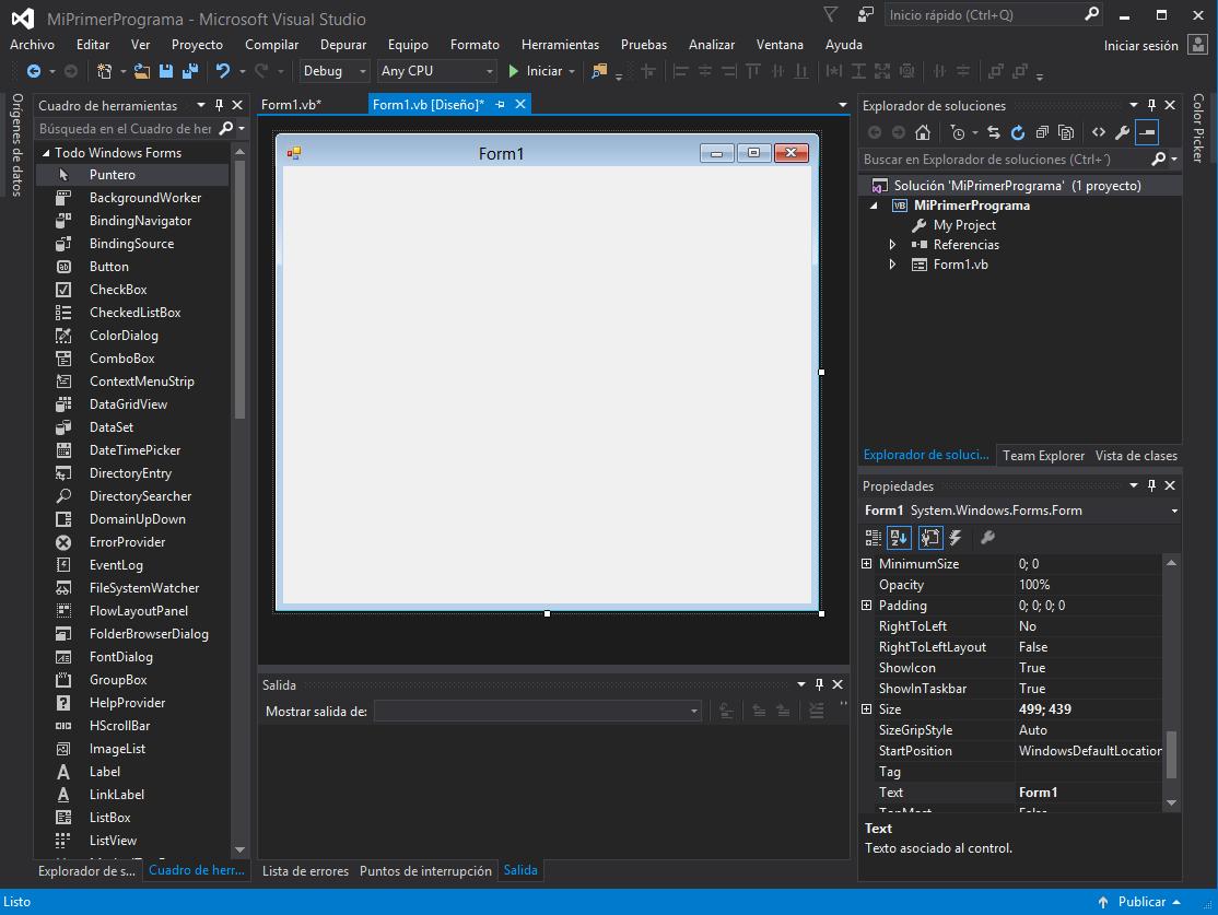 Elementos básicos de Visual Studio y Visual Basic