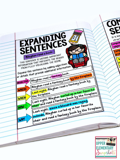 Expanding Sentences: A Personal Anchor Chart for a Writing Notebook