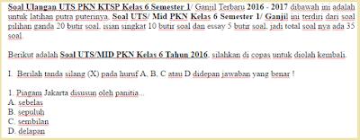 Download Soal Ulangan UTS PKN KTSP Kelas 6 Semester 1 Ganjil Terbaru 2016