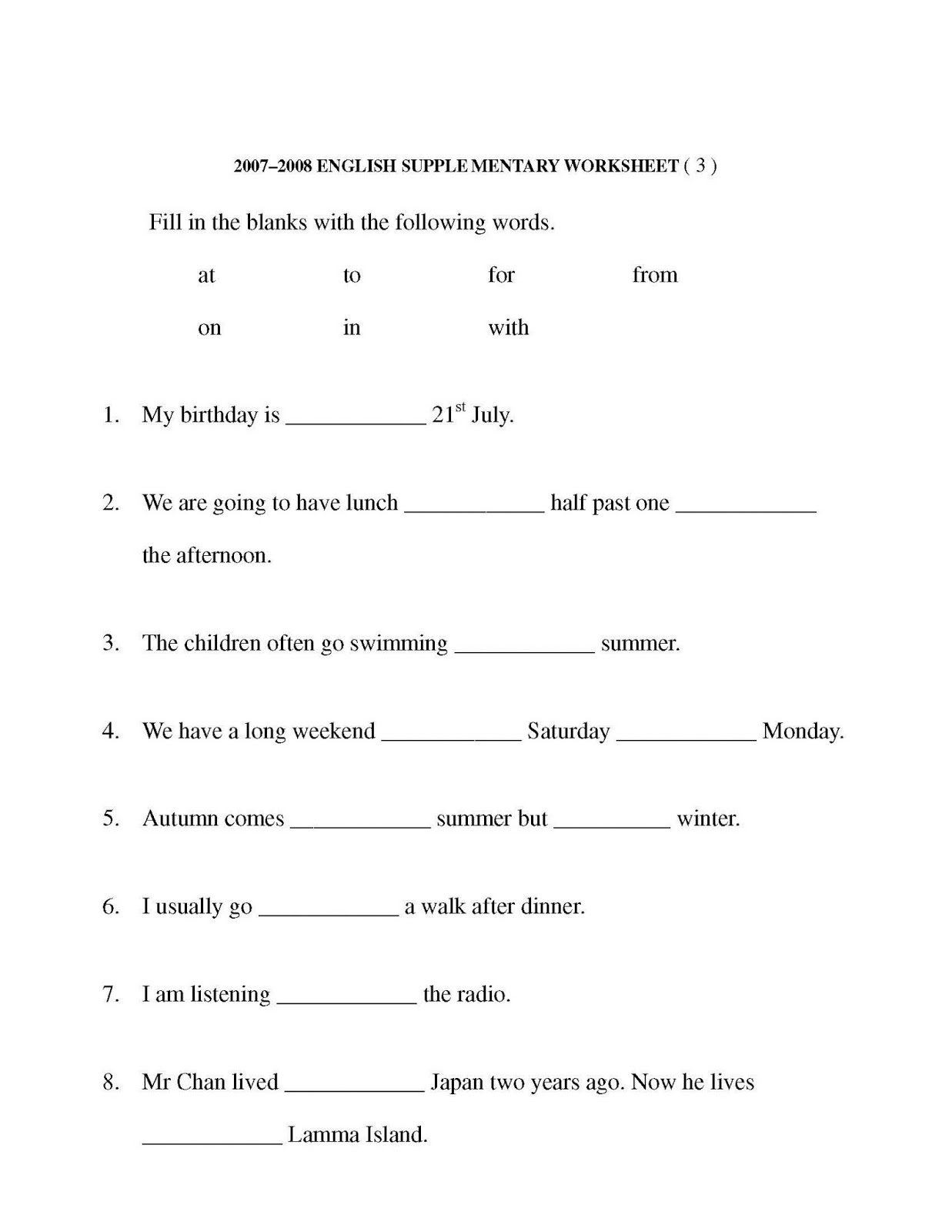 Mama Resources P5 English Worksheet