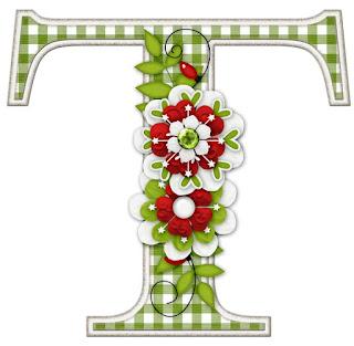 Abecedario Navideño con Flores. Christmas Alphabet with Flowers.