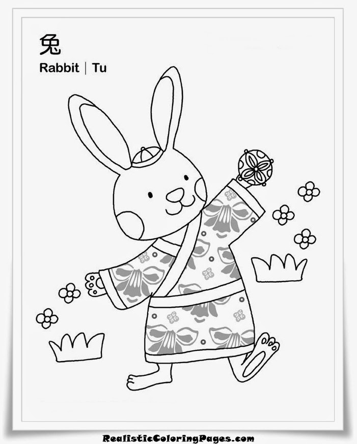 vietnamese zodiac coloring sheet rabbit