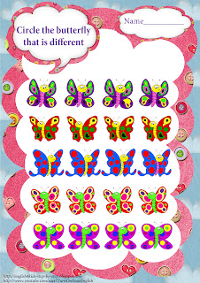 butterfly worksheet for developing attending as well as speaking