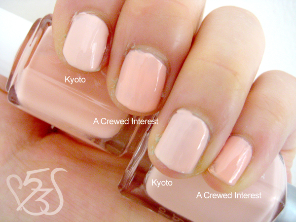 Essie A Crewed Interest vs. Soulstice Spa Kyoto (Swatches) A Crewed Interest Essie