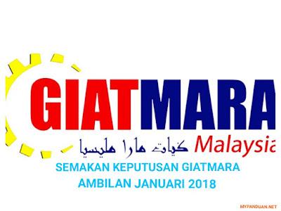 Semakan Keputusan GIATMARA Ambilan Januari 2018 Online