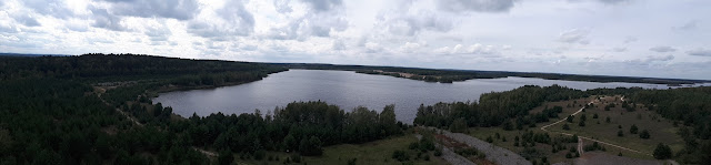 View over Sedlitzer Lake from Rostiger Nagel view point in Lausitzer Seenland