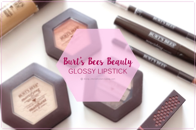 Burt's Bees Glossy Lipstick in Peony Dew Review and Swatch