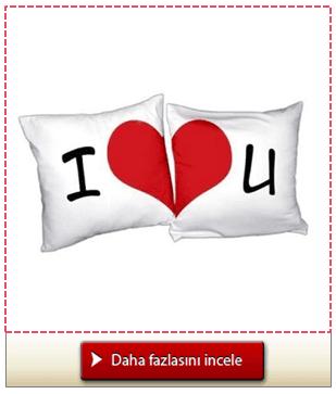 I Love You 2'li Aşk Yastığı Seti
