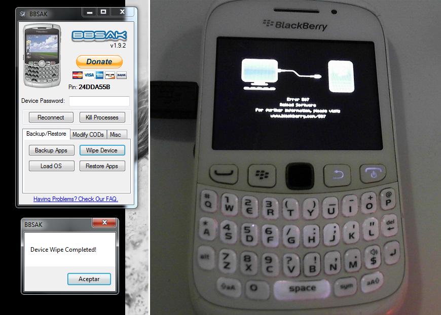 Error 507 Blackberry luego de hacer Wipe.