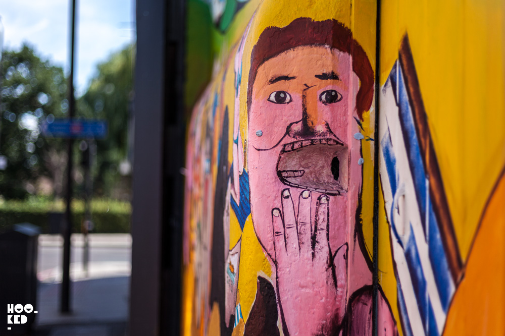 Street Art Mural in Clapton, London. Painted by Italian Street Artist RUN, detail photo.