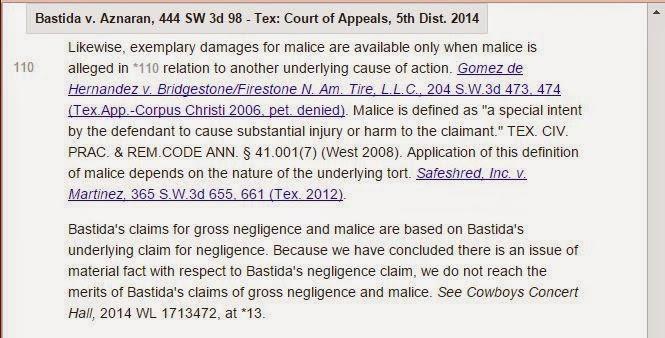 Bastida V Aznaran   Exemplary Damages   Definition Of Malice