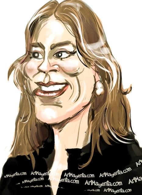 Kathryn Bigelow caricature cartoon. Portrait drawing by caricaturist Artmagenta