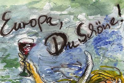 Detail des Künstleretiketts von Pit Müller. Die ganze Flasche der elften Weinsonderedition wird zur Etikettierung vorgestellt.